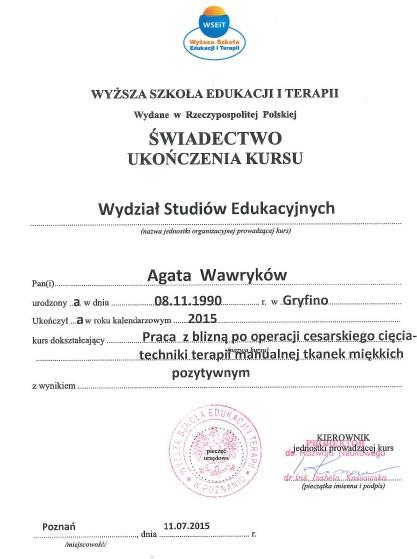 certyfikat A. Wawryków