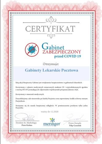 Certyfikat Gabinet zabezpieczony przed Covid