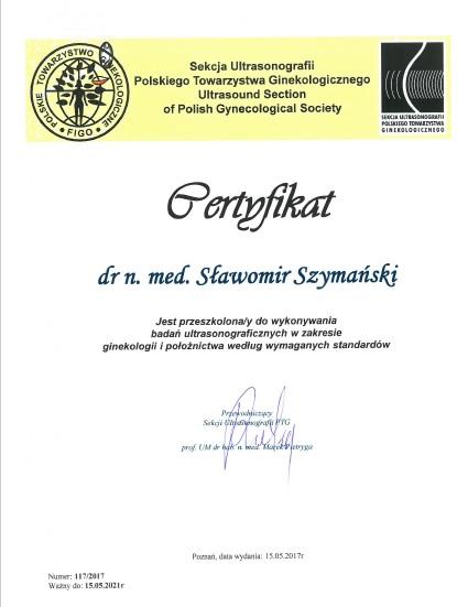 Certyfikat Sekcji Ultrasonograficznej Polskiego Towarzystwa Ginekologów i Położników